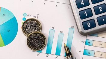 Charts, statistics, calculator, pen and coins