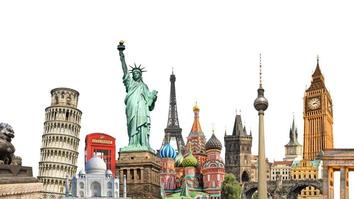 World landmarks and famous monuments collage